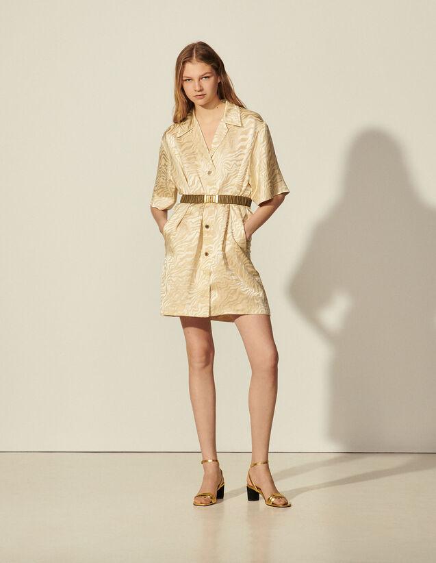 Belted Jacquard Shirt Dress : Dresses color Sand