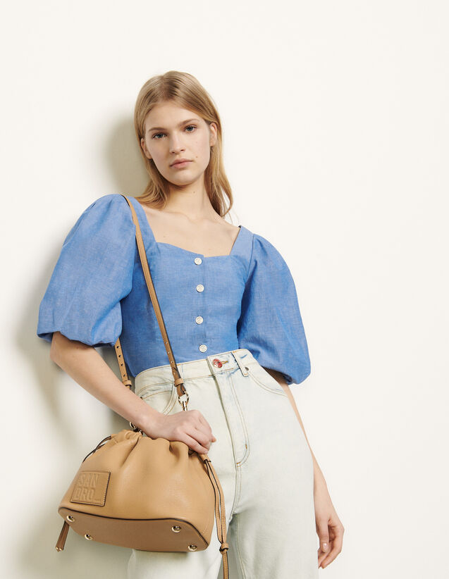 Puff-Sleeved Shirt : Shirts color Blue