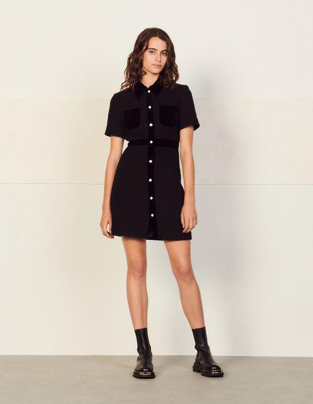 Dual-Material Tweed Dress : Dresses color Black