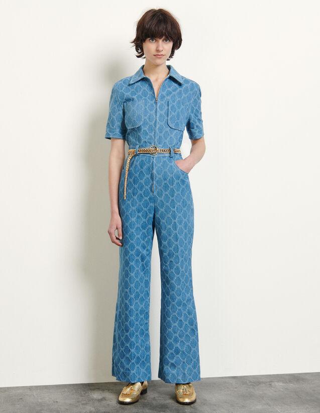 Jacquard Denim Jumpsuit : Jumpsuits color Blue Jean