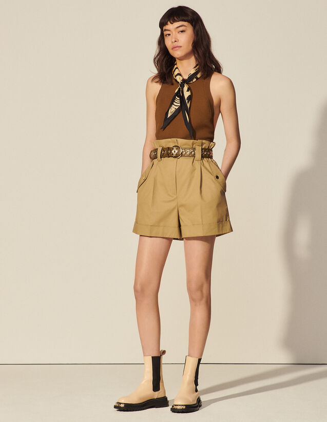 High-Waisted Organic Cotton Shorts : Skirts & Shorts color Camel