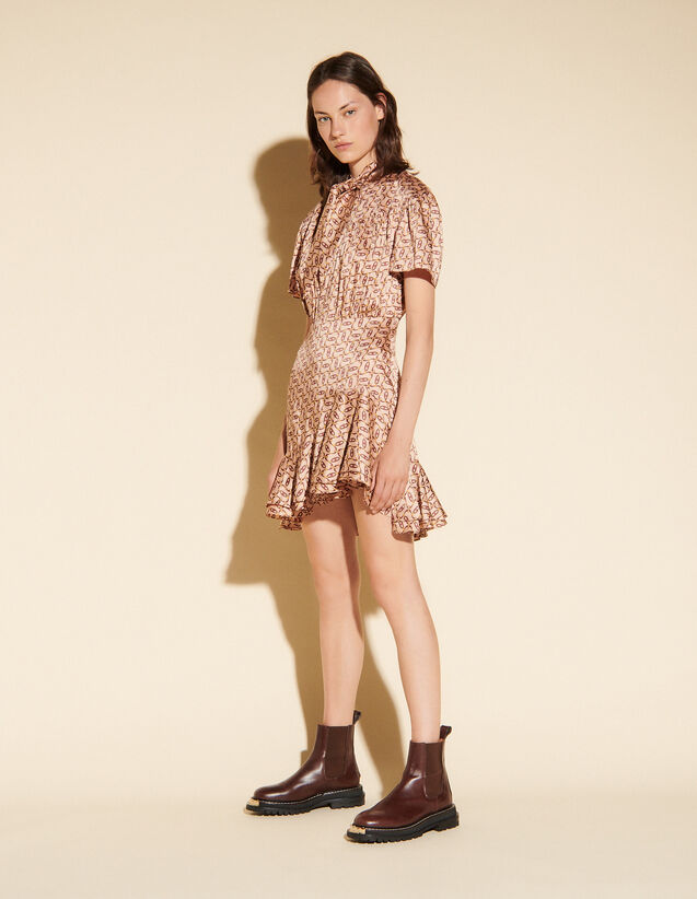 Printed Dress With Tie Collar : Dresses color Beige / Bordeaux