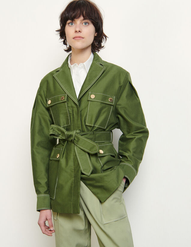 Cotton Jacket With Gold-Tone Press Studs : Blazer & Jacket color Olive Green