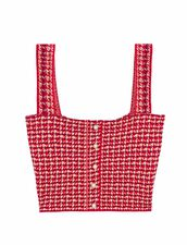 Cropped Top In Fancy Tweed : Sweaters & Cardigans color Red