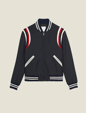 Tricolour Ribbed Varsity Jacket : Trench coats & Coats color Navy Blue