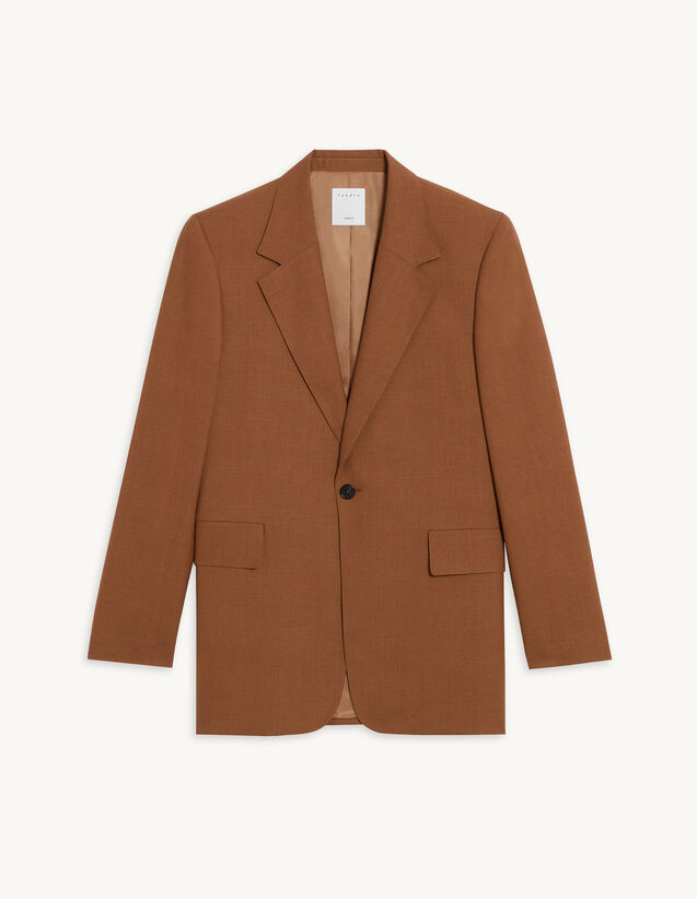Single Button Suit Jacket : null color Tobacco Brown