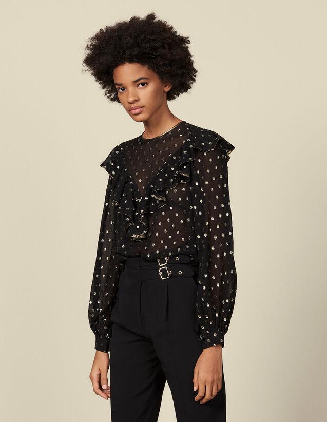 Lurex Patterned Top : Tops color Black