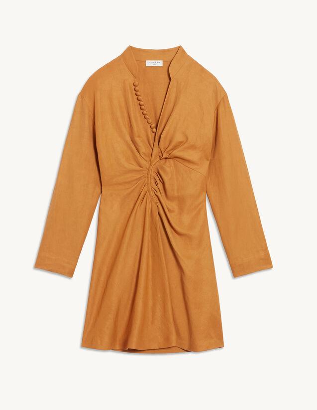 Short Dress With Fancy Neckline : Dresses color Curry