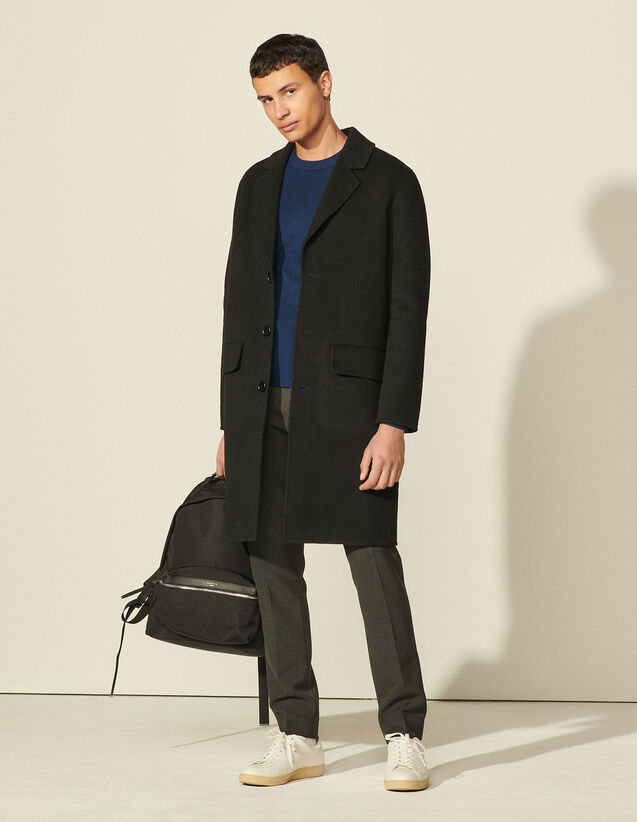 Double-Faced Wool Coat : Coats & Jackets color Black