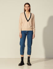 Knitted Sweater With Wide Two-Tone Trim : Sweaters & Cardigans color Beige