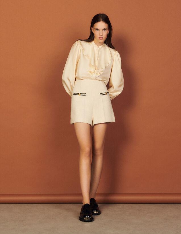 Bouclé Fabric Shorts : Skirts & Shorts color Ecru