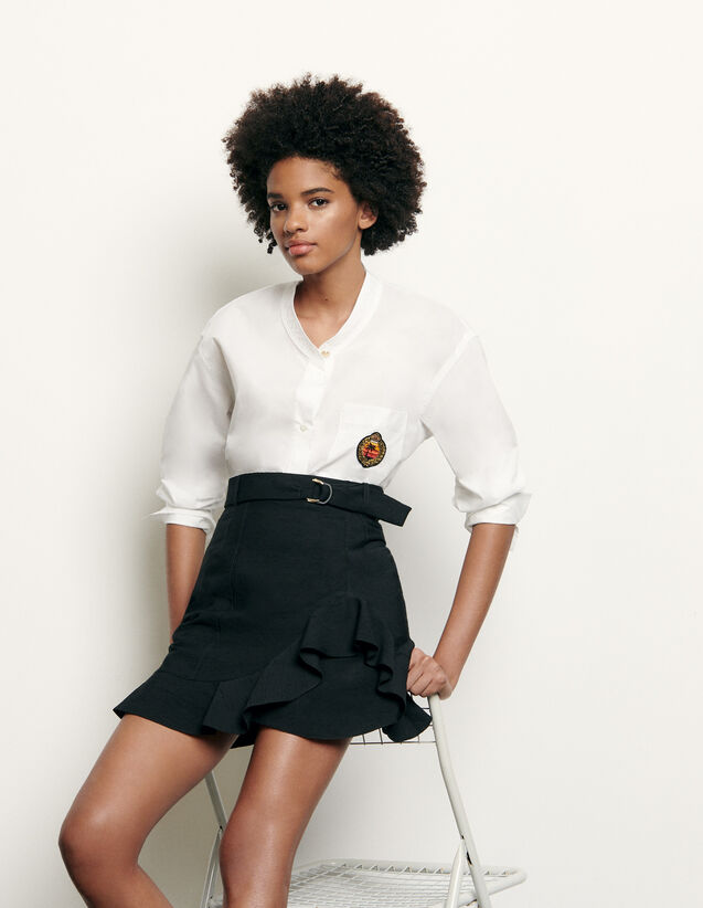 Long-Sleeved Shirt With Military Collar : Love & Smile color white