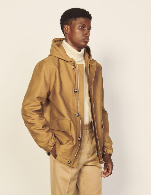 Short Hooded Coat : Trench coats & Coats color Camel