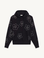 Hoodie With Contrasting Embroidery : Sweatshirts color Navy Blue