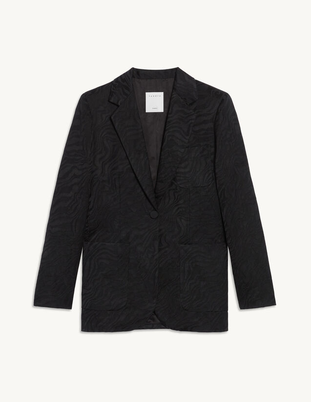 Jacquard Tailored Jacket : Blazer & Jacket color Black