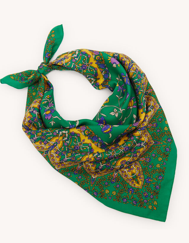 Printed Silk Scarf : Other accessories color Green