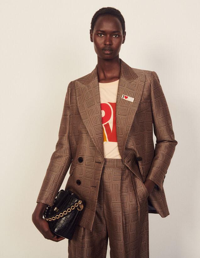 Jacquard Tailored Jacket : Blazer & Jacket color Brown / Black