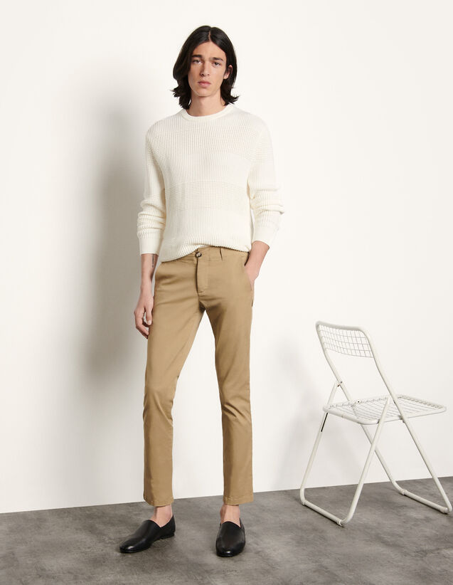 Chino Trousers In Stretch Cotton : Pants & Shorts color white