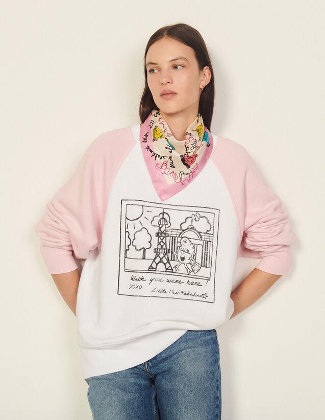 Two-Tone Printed Sweatshirt : Tops color white