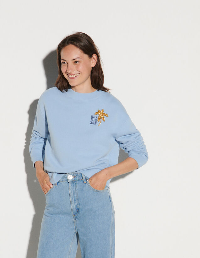 Embroidered Sweatshirt : Sweaters & Cardigans color Sky Blue