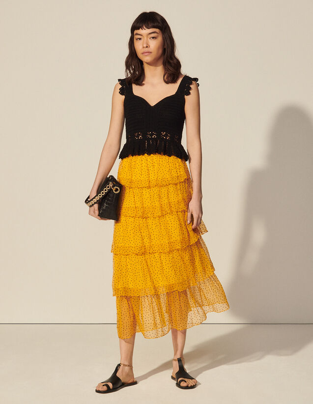 Long Dotted Swiss Skirt With Ruffles : Skirts & Shorts color Ochre