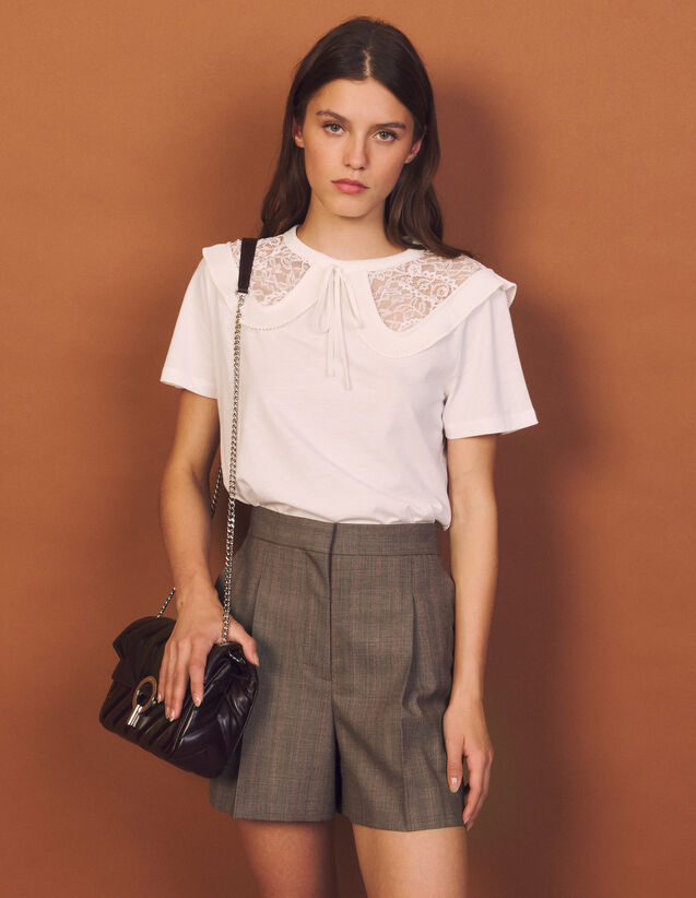 T-Shirt With Oversized Peter Pan Collar : T-shirts color white