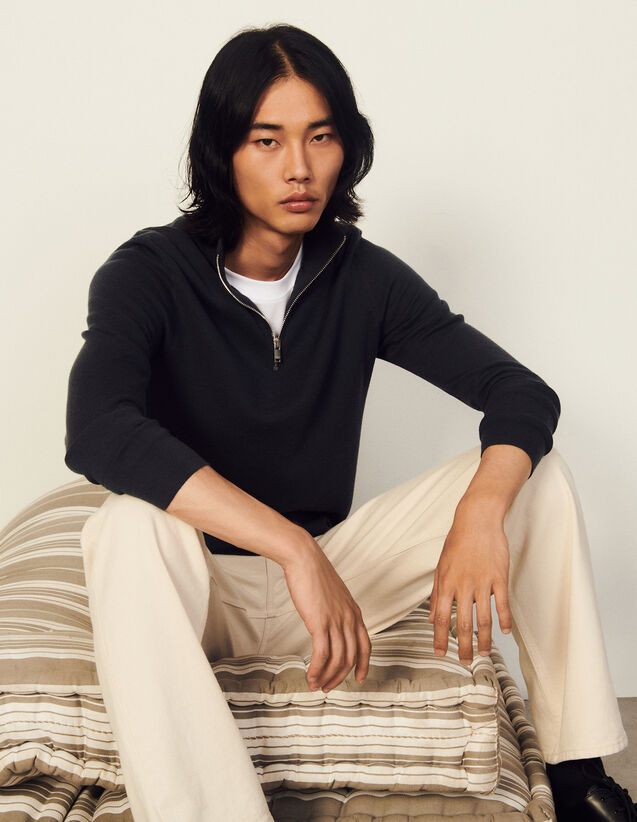 Wool Sweater With Zipped Collar : Sweaters & Cardigans color Charcoal Grey