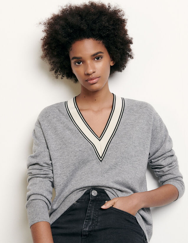 Sweater With Constrasting Neckline : Sweaters & Cardigans color Grey