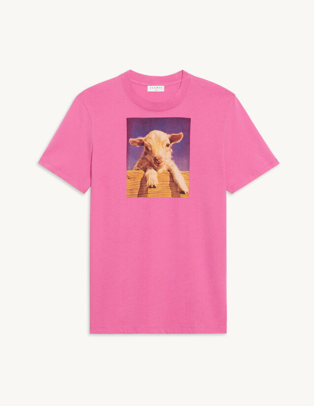 Cotton T-Shirt With Imagery : T-shirts & Polo shirts color Pink