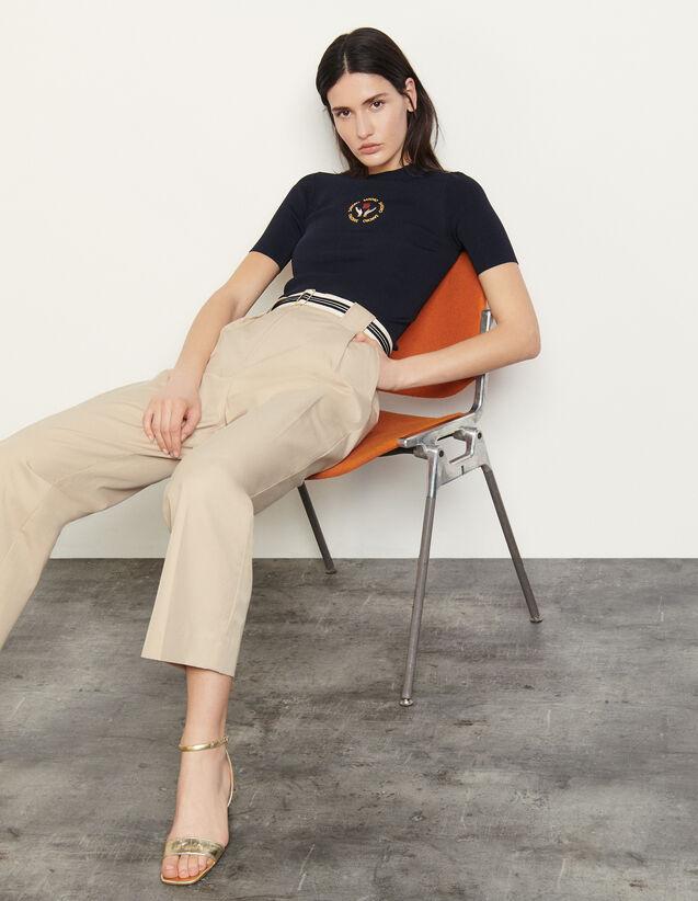 Cotton Gabardine Trousers : Pants color Beige