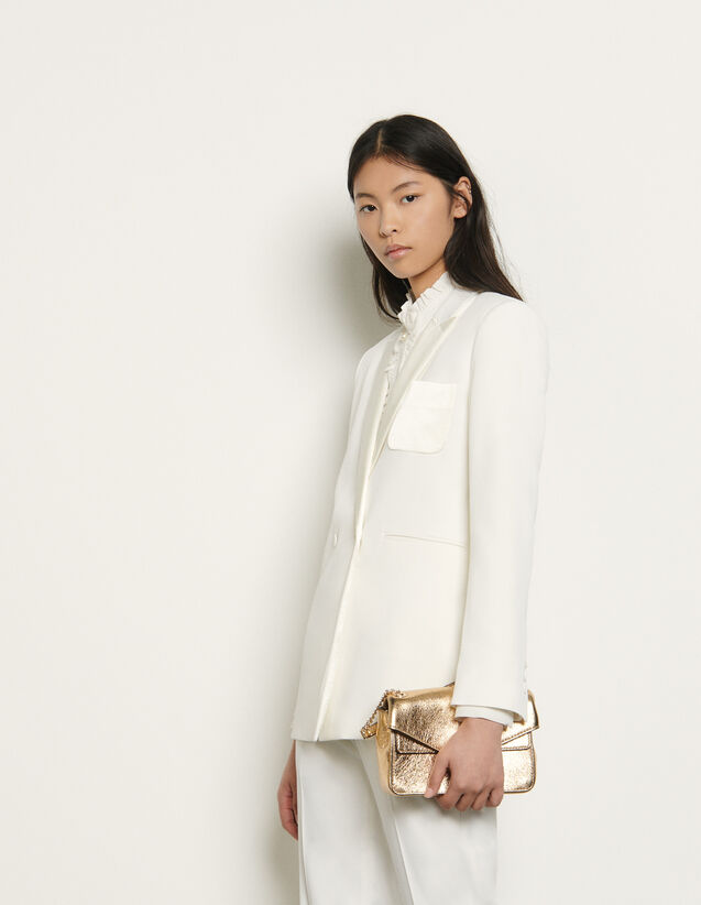 Dual-Fabric Tailored Jacket : Blazer & Jacket color Ivory