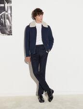 Aviator Jacket With Sheepskin Collar : Jackets & Coats color Pétrol Blue