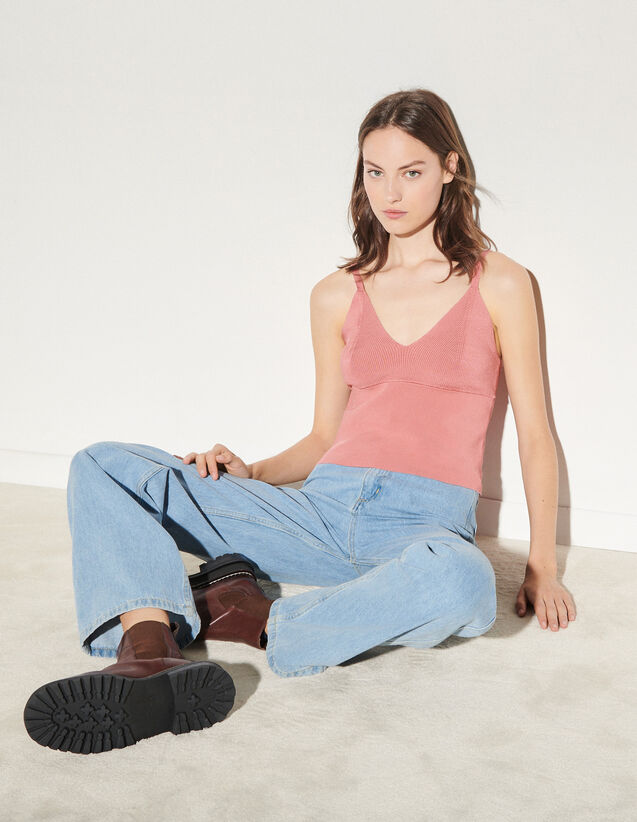 Knit Top With Straps : Tops color make up
