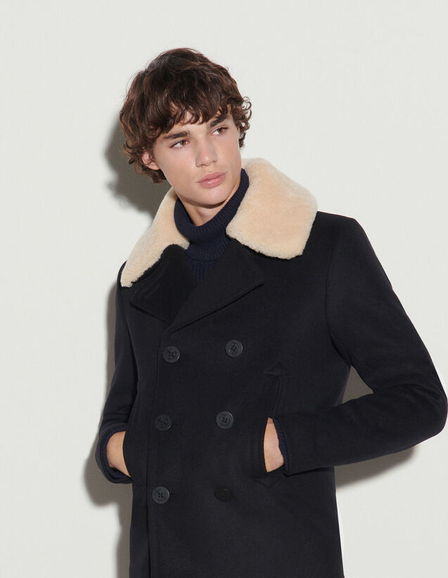 Pea Coat With Sheepskin Collar : Trench coats & Coats color Black
