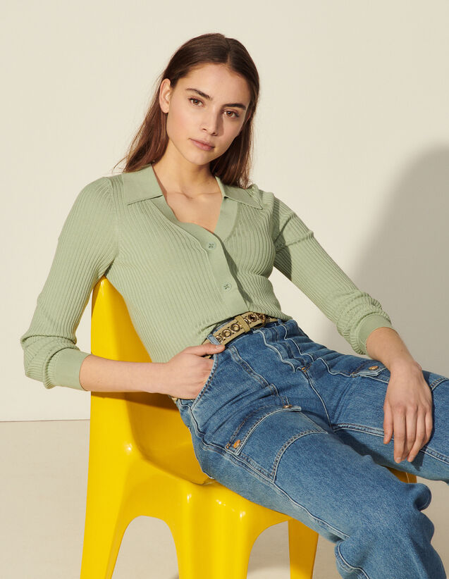 Ribbed Cardigan With Polo Collar : Sweaters & Cardigans color Vert Amande