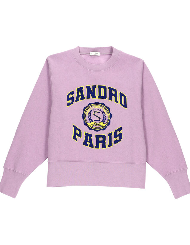 Printed And Flocked College Sweatshirt : Tops color Mauve