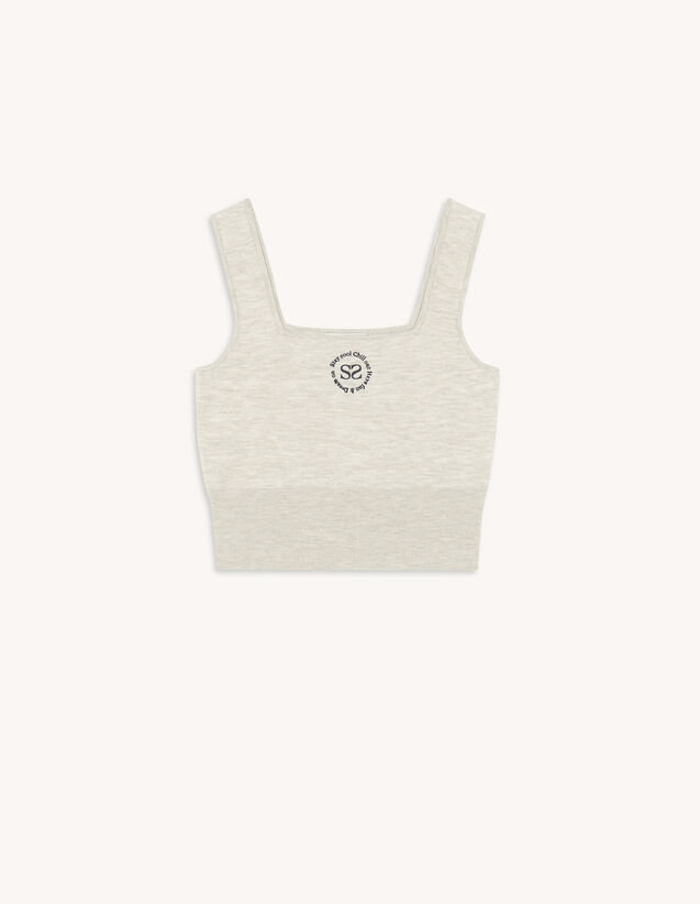 Knit Bra Top With Embroidery : Tops color Mocked Grey