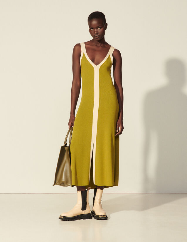 Two-Tone Knit Dress With Straps : Dresses color Olive