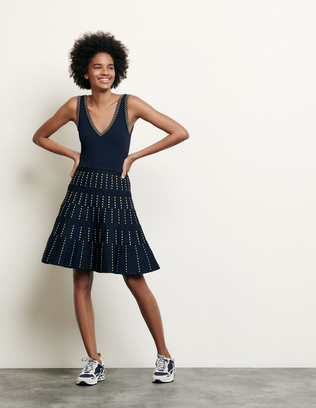 Knitted Dress With Lurex Details : Dresses color Navy Blue