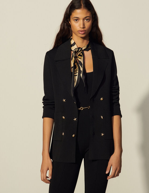 Cardicoat With Three Jewelled Buttons : Sweaters & Cardigans color Black