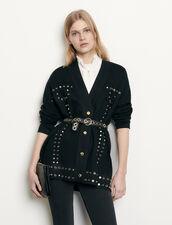 Cardi-Coat Trimmed With Studs : Blazer & Jacket color Black