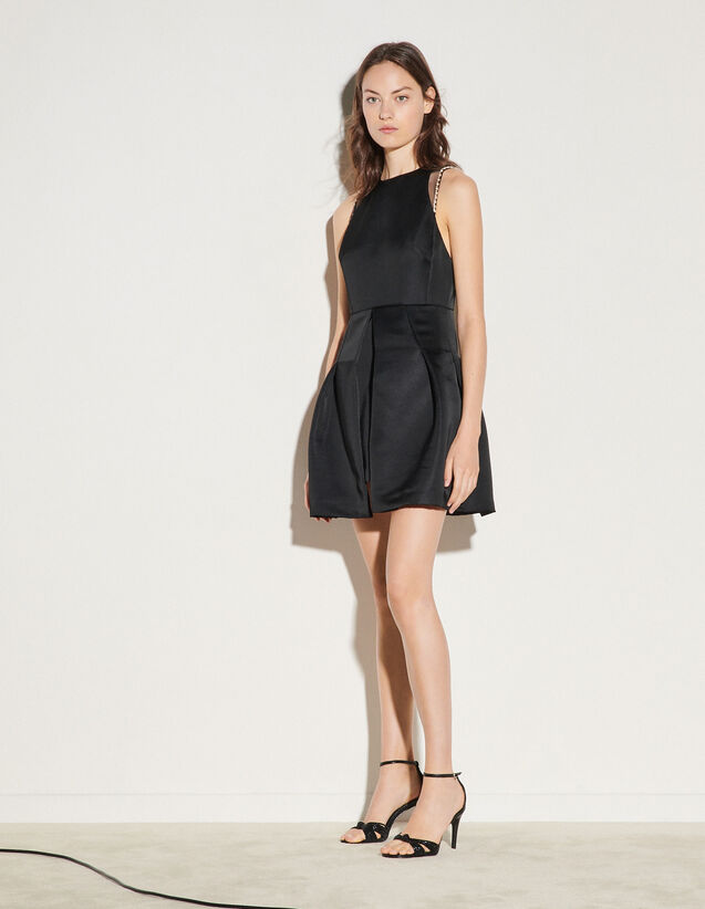 Short Dress With Beaded Details : Dresses color Black