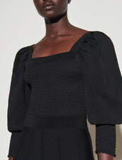 Dress With Square Neckline And Smocking : Dresses color Black