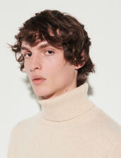 Roll Neck Wool And Cashmere Sweater : Sweaters & Cardigans color Beige
