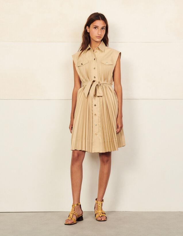 Shirt Dress With Pleats : Dresses color Beige