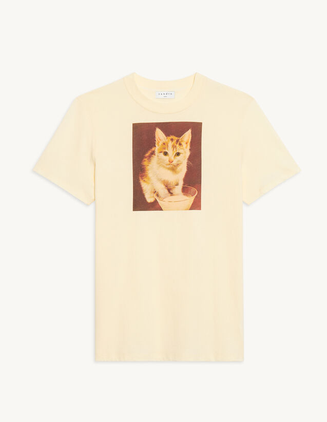 Cotton T-Shirt With Imagery : T-shirts & Polo shirts color Beige
