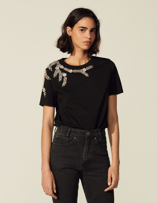 T-Shirt With Embroidery And Rhinestones : T-shirts color Black