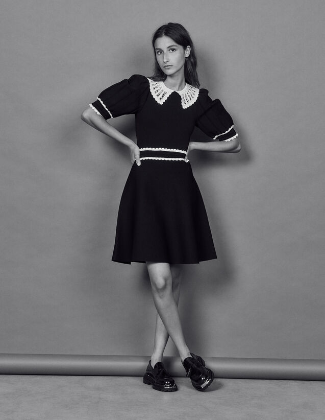 Knit Dress With Contrasting Collar : Dresses color Black