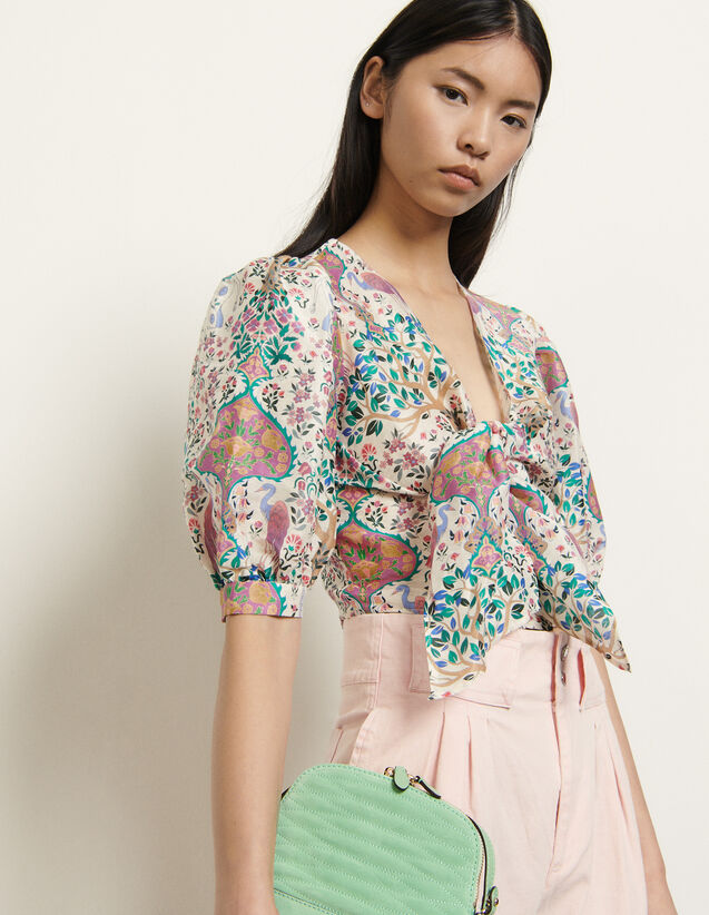 Printed Cropped Top In Linen And Silk : Tops color Ivory