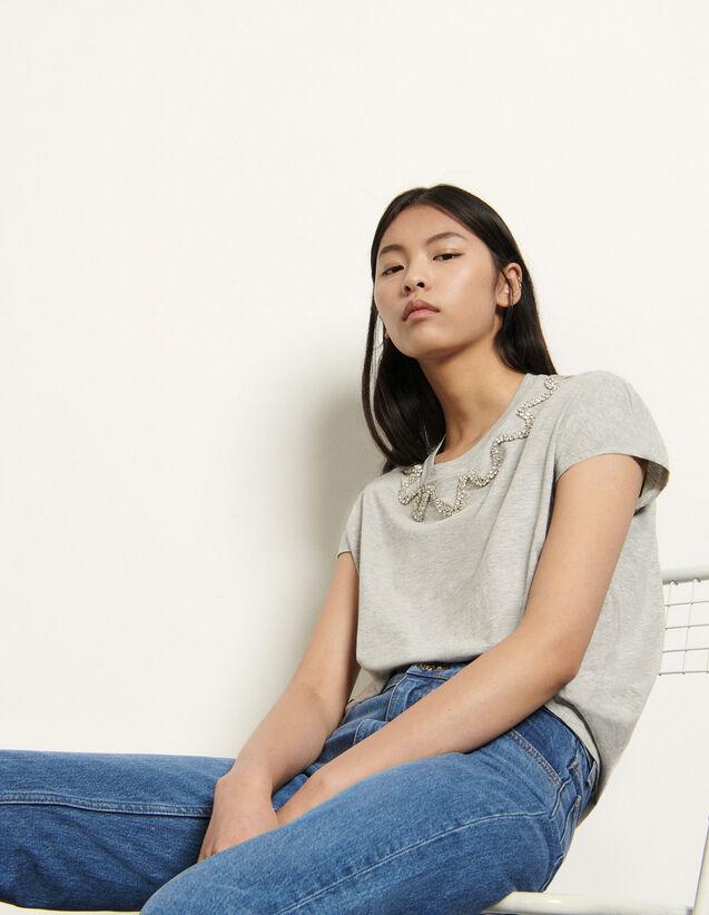 Sleeveless T-Shirt With Rhinestones : T-shirts color Grey